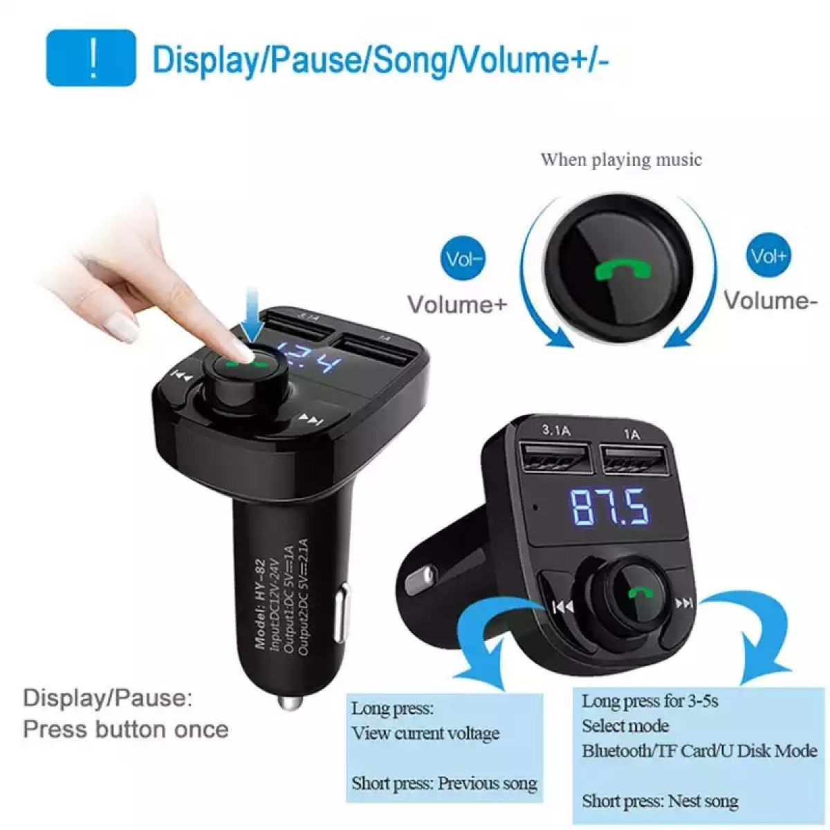 Smart Bluetooth mp3 Car Charger image